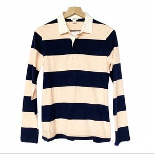 J Crew NWT navy blue and pink striped rugby style polo shirt long sleeved S